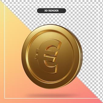 Złota moneta euro renderowania 3d na białym tle