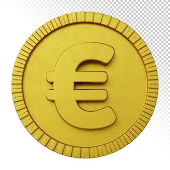 Złota moneta euro symbol waluty renderowania 3d na białym tle
