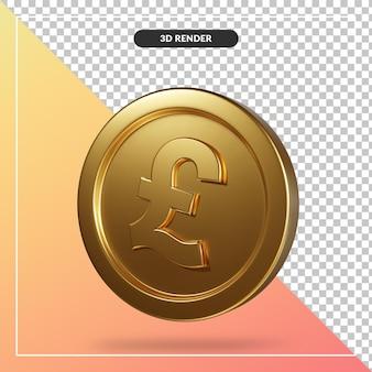 Złota moneta funt renderowania 3d na białym tle