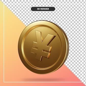 Złota moneta jena renderowania 3d na białym tle