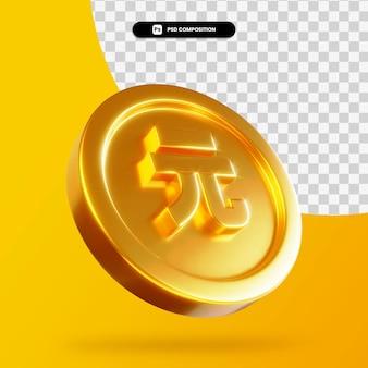 Złota moneta juana renminbi renderowania 3d na białym tle