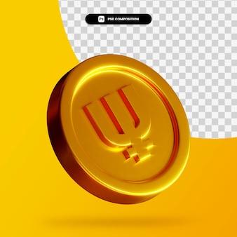 Złota moneta primecoin renderowania 3d na białym tle