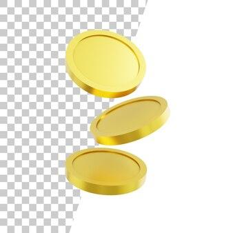 Złota moneta w różnych pozycjach