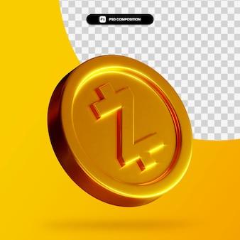 Złota moneta zcoin renderowania 3d na białym tle