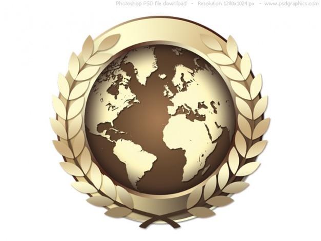 Złota psd świecie ikona nagrodę, złoty medal