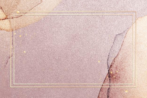 Złota ramka na różowym tle ilustracji z brokatem