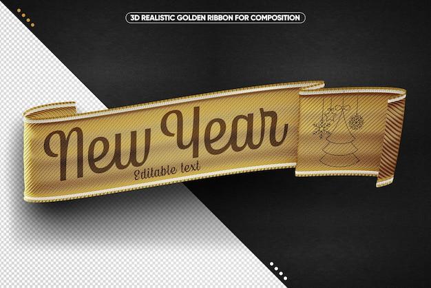 Złota realistyczna wstążka na szczęśliwego nowego roku