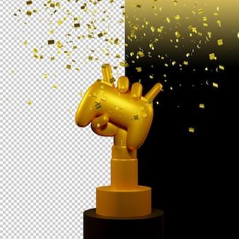 Złota ręka trzyma projekt renderowania bezprzewodowego joysticka na białym tle