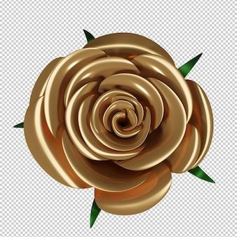 Złota róża w 3d renderowania na białym tle