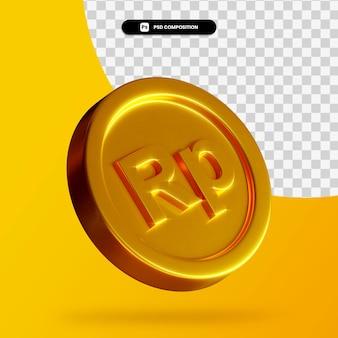 Złota rupia moneta renderowania 3d na białym tle
