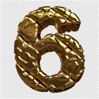 Złote cyfry wykonane z surowych ukośnych wlewków. 3. numer 6