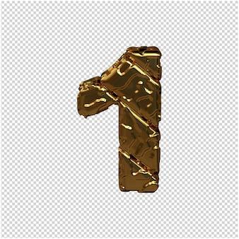 Złote cyfry wykonane z szorstkich, ukośnych bloków. widok z góry. 3d numer 1