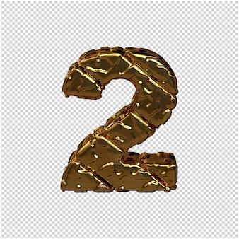 Złote cyfry wykonane z szorstkich, ukośnych bloków. widok z góry. 3d numer 2