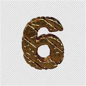 Złote cyfry wykonane z szorstkich, ukośnych bloków. widok z góry. 3d numer 6
