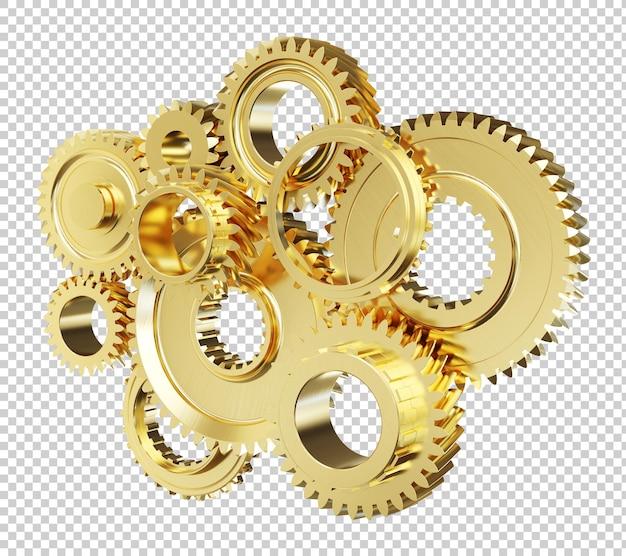 Złote koła zębate silnika na białym tle renderowania 3d