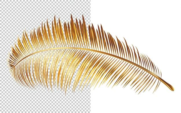 Złote liście palmy na białym tle renderowania 3d