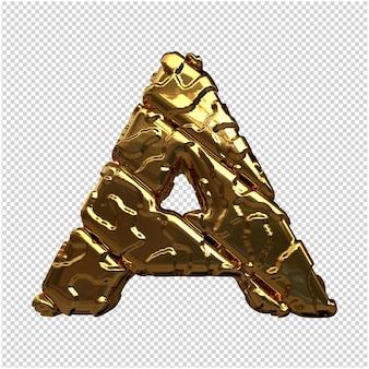 Złote litery z niepolerowanych ukośnych prętów. 3d litera a