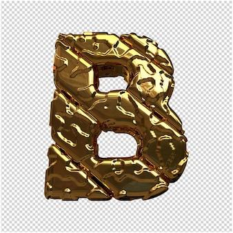 Złote litery z niepolerowanych ukośnych prętów. 3d litera b