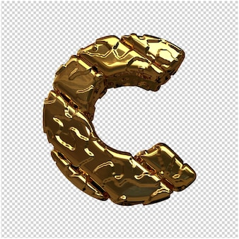 Złote litery z niepolerowanych ukośnych prętów. 3d litera c