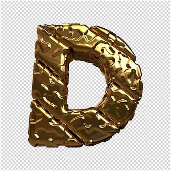 Złote litery z niepolerowanych ukośnych prętów. 3d litera d