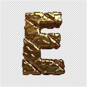 Złote litery z niepolerowanych ukośnych prętów. 3d litera e