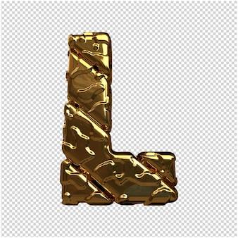 Złote litery z niepolerowanych ukośnych prętów. 3d litera l
