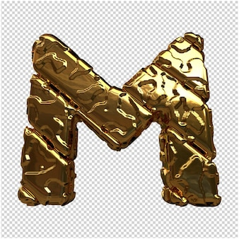 Złote litery z niepolerowanych ukośnych prętów. 3d litera m