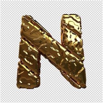 Złote litery z niepolerowanych ukośnych prętów. 3d litera n