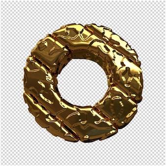 Złote litery z niepolerowanych ukośnych prętów. 3d litera o