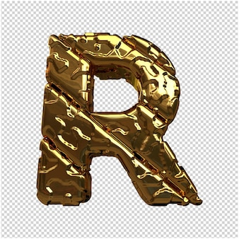 Złote litery z niepolerowanych ukośnych prętów. 3d litera r