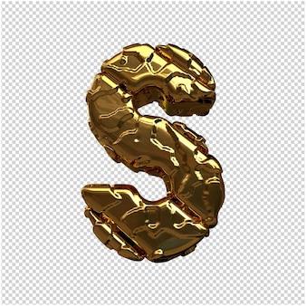 Złote litery z niepolerowanych ukośnych prętów. 3d litera s