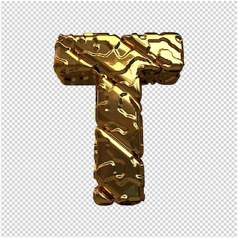 Złote litery z niepolerowanych ukośnych prętów. 3d litera t