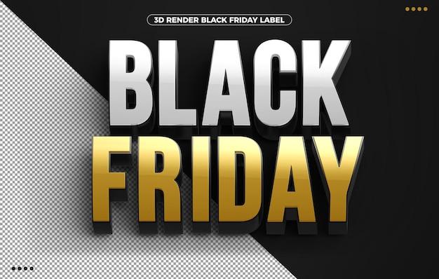 Złote logo 3d black friday na białym tle na czarnym tle