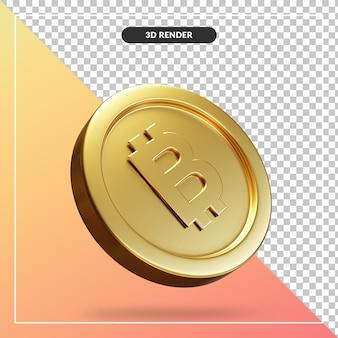 Złote monety bitcoin 3d wizualne na białym tle