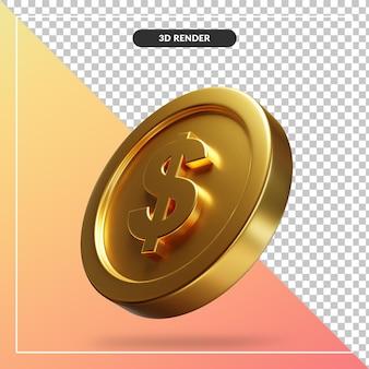 Złote monety dolara 3d wizualne na białym tle