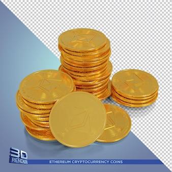 Złote monety ethereum renderowania 3d kryptowaluty na białym tle