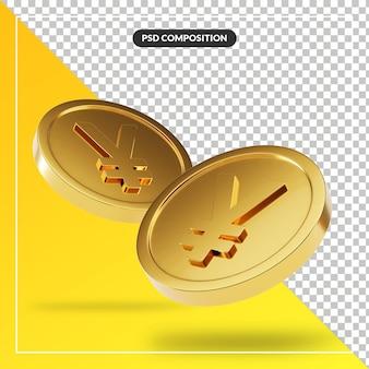 Złote monety jena w 3d renderowania na białym tle
