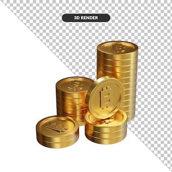 Złote monety luzem bitcoin renderowania 3d na białym tle