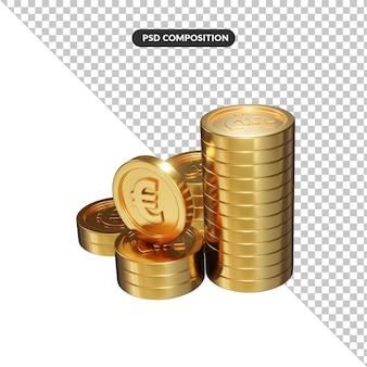 Złote monety luzem euro renderowania 3d na białym tle