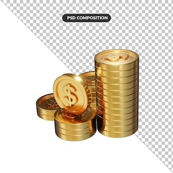 Złote monety luzem renderowania 3d dolara na białym tle