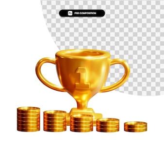 Złote monety z trofeum w renderowaniu 3d na białym tle