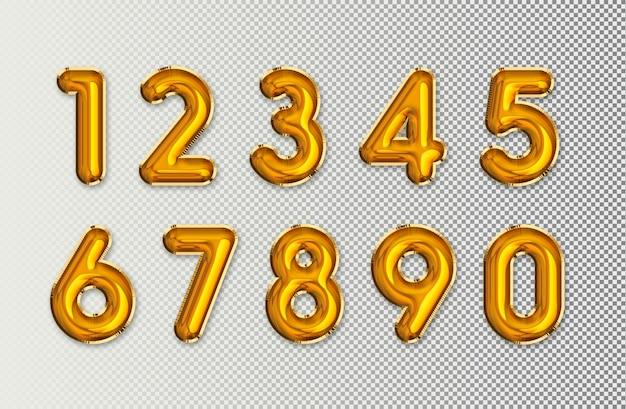 Złote numery balonowe
