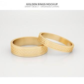 Złote pierścionki makiety