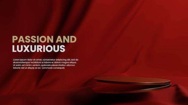 Złote podium z czerwonym tłem tkaniny