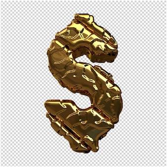 Złote symbole wykonane z szorstkich ukośnych pasków. symbol 3d