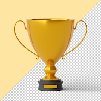Złote trofeum na białym tle renderowania 3d
