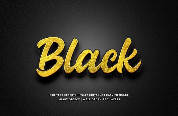 Złoto czarny efekt stylu tekstu 3d