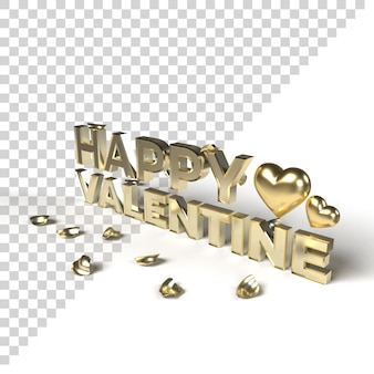 Złoto happy valentine 3d słowa ze złotym sercem i płatkiem na białym tle