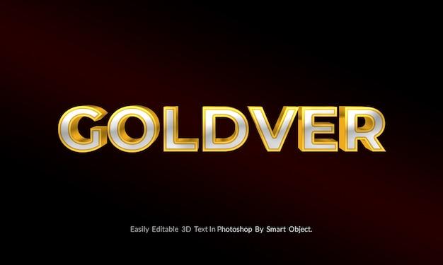 Złoto i srebro makieta stylu tekstowego 3d psd premium