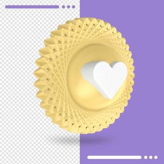 Złoto jak instagram na białym tle renderowania 3d